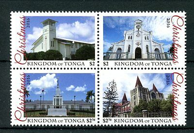 Tonga 2016 MNH Christmas Churches 4v Block Buildings Architecture Stamps