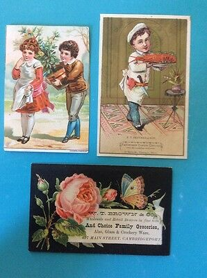 3--1880s Victorian Trade Cards, Acme Soap, W.T. Brown Groceries, Skinner Clothes