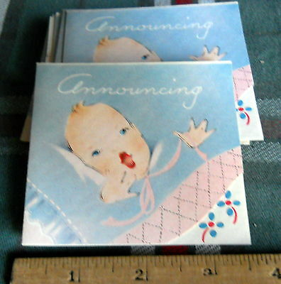 """BIRTH ANNOUNCEMENT *vintage-8 cards*ANNOUNCING* 3 1/2"""" X 3 1/4""""INCHES"""
