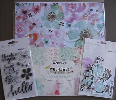 "Bulk Lot ~ WILDFLOWER ~ 12 Papers + Stickers + Stamp Set + Die Cuts 12""x12"""