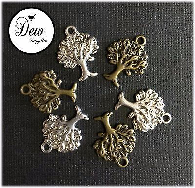 10 x Tree Charms Antique Silver Tone and Bronze Metal Bead charm tree of life