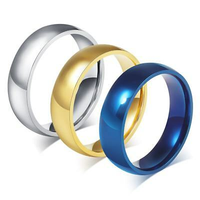 6mm Blue/Gold/Silver/Black 316L Stainless Steel Band Men/Women's  Ring Size 4-15