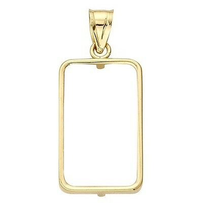 14~Kt Solid Gold ~Fits 10~Gram Bars~ Bezel  With  Bale !`~ Buy It Now ! ~ $74.88