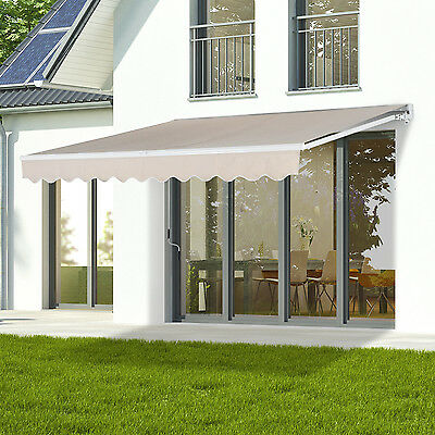 Outsunny 3 x 2.5m Awning Door Canopy Shelter Front Back Outdoor Rain Shade Cover