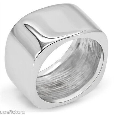 Geometric Cube 11MM wide Band Silver Stainless Steel Ladies Ring Size 10