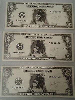 RARE Ariana Grande Dangerous Woman Tour 2017 Stage Used Dollar Bill Money 2 PACK