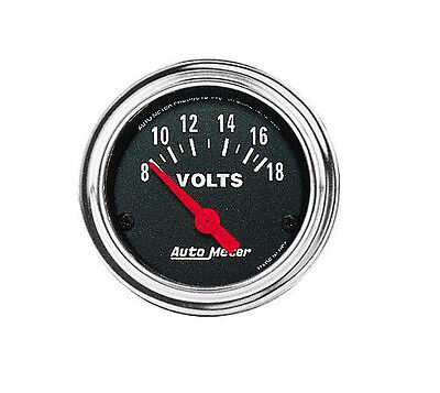 """Auto Meter 2592 Traditional Chrome Electric Voltmeter Gauge 2 1/16"""" (8-18 Volts)"""