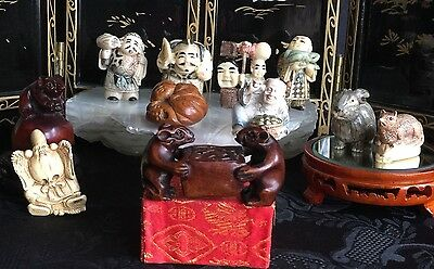 Japanese netsuke collection carved bovine bone11 piece immortal cloaked turtle