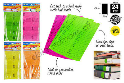 24 Book Sticker Labels Personalize School Name Class Subject Label NEW