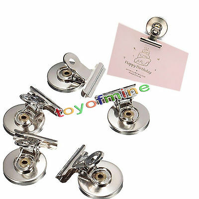 5Pcs 3cm Magnet Refrigerator Memo Note Wall Magnetic Clip Silver Holder Message