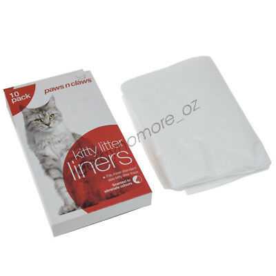 10pc Cat Litter Liner Bags Kitten Clear Disposable Dispose easy NEW