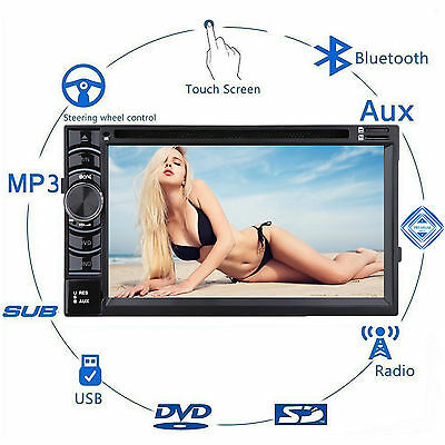 "Double 2 DIN 6.2"" In dash Car Stereo Radio CD DVD Player FM/USB/SD Bluetooth MP3"