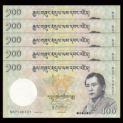 Lot 5 PCS, Bhutan 100 Ngultrum, 2011, P-32b, banknote, UNC