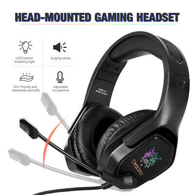 3.5mm Gaming Headset MIC LED Headphones Bass Stereo for PC Laptop PS4 Xbox One