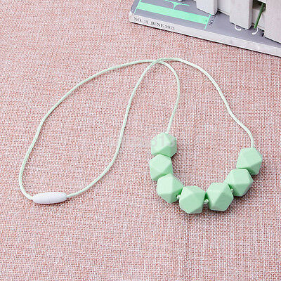Lovely Baby Teething Necklace Teether Charm Free Beads Polygon Silicone AU