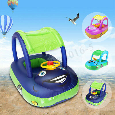 Inflatable Baby Kid Toddler Blue Sunshade Boat Float Seat Ring Car Swimming Pool