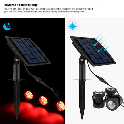 LED Solar Powered Lamp Light with 3 RGB Spotlight Panel Underwater Pond