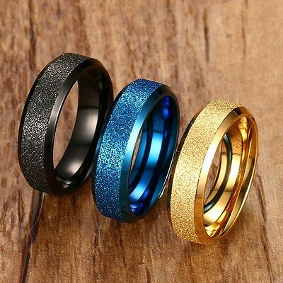 316L Stainless Steel Frosted Band Men Women Jewelry 6MM Wedding Party Matte Ring