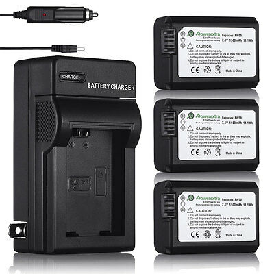 NP-FW50 NPFW50 Battery For Sony A6000 A6300 A3000 A5000 Alpha A7 A7R + Charger