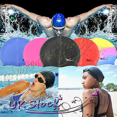 New Swimming Swim Cap Hat Girls Childrens Kids Junior Adults Unisex Silicone UK