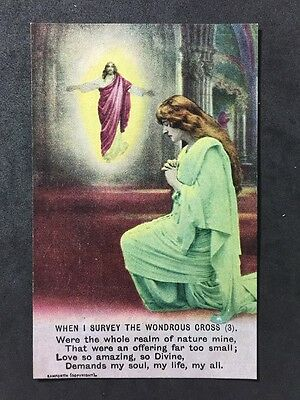 Vintage Postcard - Bamforth Song Card #A90 - When I Survive The Wondrous Cross 3