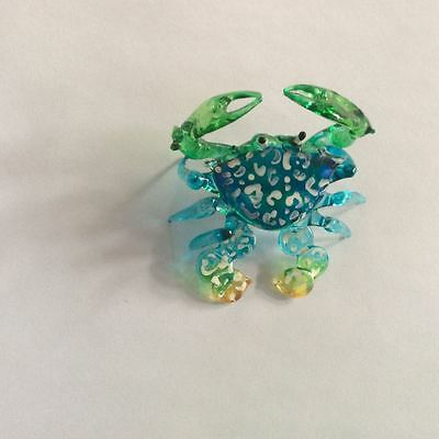 Tiny Handcrafted MINIATURE HAND BLOWN GLASS Blue Crab FIGURINE Ornaments