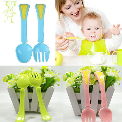 Plastic Cutlery Set Fork Silicone Head Cooking Utensil Spoon for Kids Baby 12Ms
