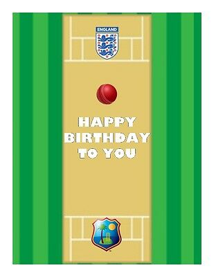 A4 Cricket Pitch - Own Teams - Personalised  Edible Fondant/Wafer Cake Topper