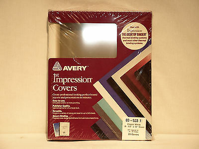 """Avery 1st Impression 03-533 3/8"""" Classic White Thermal Binding Covers"""