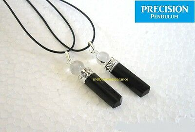 Black Tourmaline Point w/ Quartz Crystal Top Precision Pendulum Pendant Necklace