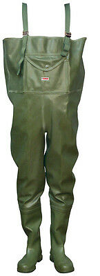 RUBBER Fishing Chest Waders , cult company TIGAR  7 - 13 UK , 39 - 47 EU Green