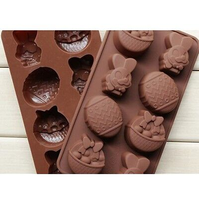 Cake Mold Soap Mold Rabbit Easter Egg Mold Silicone Mould For Candy Chocolate*
