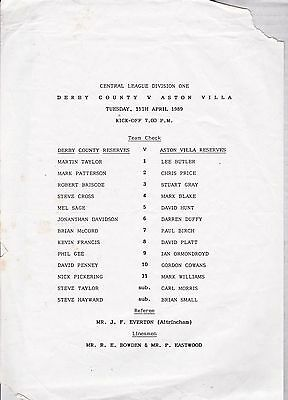 DERBY COUNTY v ASTON VILLA RESERVES ~ 11 APRIL 1989