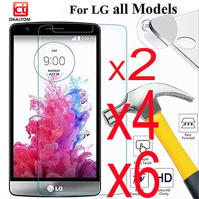 6Pcs 9H Real Tempered Glass Film Screen Protector Guard Cover For LG G3 G4 G5