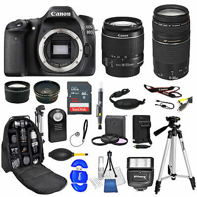 CANON EOS 80D Digital SLR Camera + EF-S 18-55mm STM + 75-300 24 PIECE BUNDLE