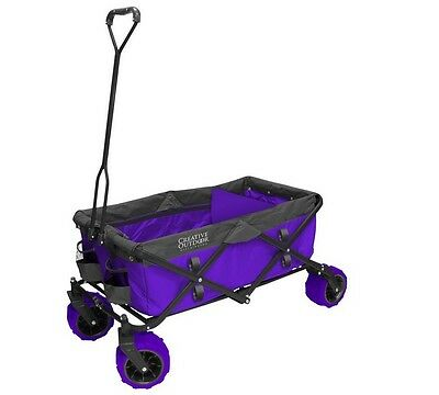 Folding Garden Wagon Carts Creative Outdoor 7 cu. ft. Purple Yard Garden Utility