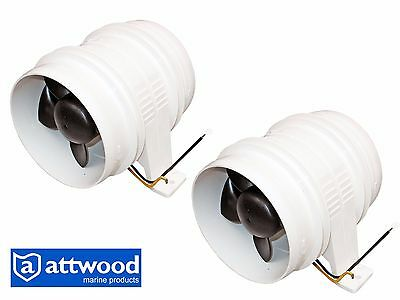 "Set of 2 Marine 4"" Electric in-line Blower for Boats & RVs -  Attwood Turbo 4000"