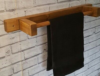 Chunky Solid Wooden Handmade Towel Rail - 100% Solid Wood Oak Beeswax Finish