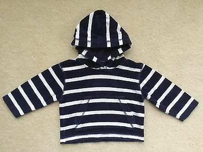 Mini Boden Boys Navy & White Striped Towelling Hoody Age 18-24 Months