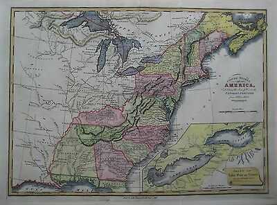 Original 1812-1815 Seat of War Map UNITED STATES Great Lakes Canada Louisiana