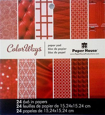 Paper House Productions Double Sided Paper Pad 24 Sheets ~Red