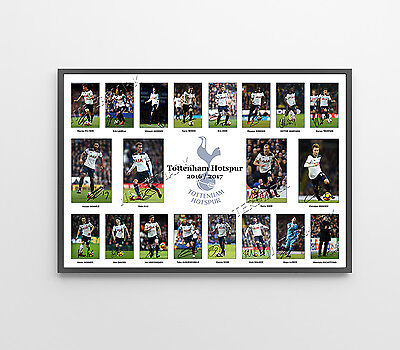 Tottenham Hotspur Signed Print Poster Photo Squad 2017 Wall Art Framed Alli