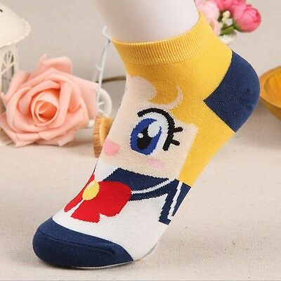 6 Pairs/lot Girls Sailor Moon Cartoon Anime Character Pattern socks for lady