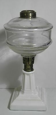 Antique Vintage Three Piece Mold Glass Oil Lamp On Brass Milk Glass Pedestal