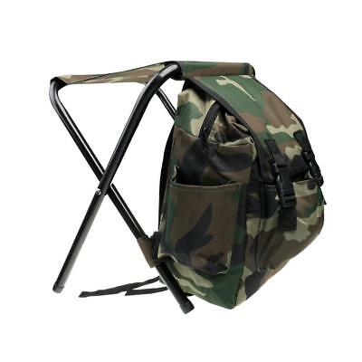 Hunting Fishing Tackle Backpack Bag Camping Foldable Stool Seat Chair Camo