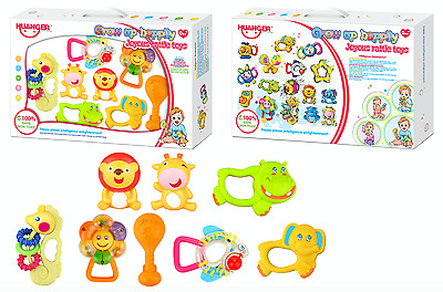 Animals Baby Rattles Musical 8 Piece Grip Shaking Activity Baby Kids Toy Bed