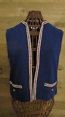 Vintage Butte Knit Blue W/red White And Gold Detail100%wool Vest Sz S Euc