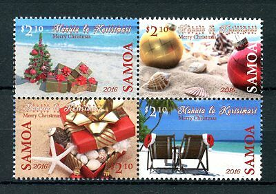 Samoa 2016 MNH Christmas Decorations Baubles 4v Block Beaches Stamps
