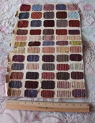 "Rare Page Of 55 Silk Velvet French 1"" X 2"" Fabric Samples c1840~Dolls, Quilters"