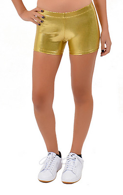 Women's Mystique Metallic Fabric Booty Shorts Dance Athletic Sizes S to XL